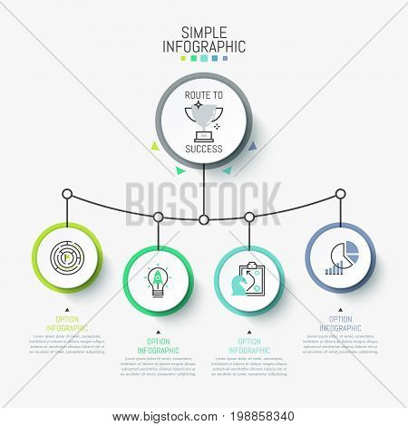Infographic design layout. Main round element connected with 4 circles, pictograms and text boxes. Four steps to business success concept. Vector illustration for presentation, report, brochure.