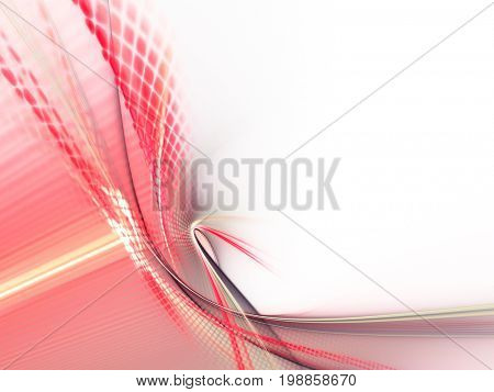 Abstract background element. Fractal graphics series. Curves, blurs and twisted grids composition. Red and white colors.
