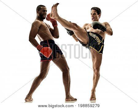 two caucasian Muay Thai kickboxing kickboxer thai boxing men isolated on white background