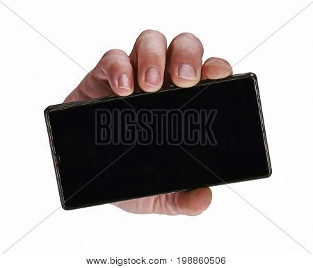 Front view from a hand hold smart phone isolated on white background.