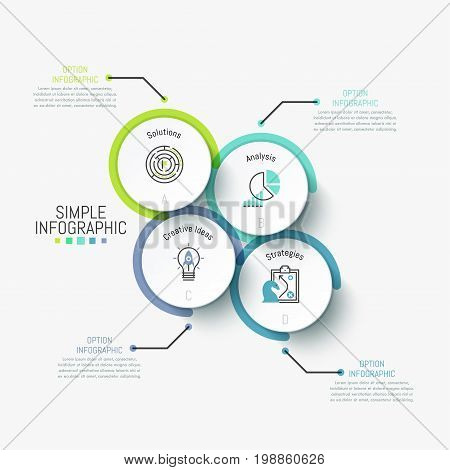 Simple infographic design template. Four separated circles containing pictograms and letters inside and connected with text boxes by lines. Vector illustration for presentation, report, brochure.