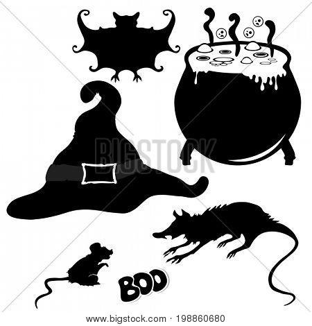 Witch's hat, witch's cauldron, bat, rat, mouse. Halloween element design.