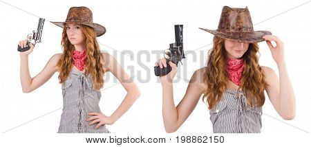 Woman gangster with gun isolated on white