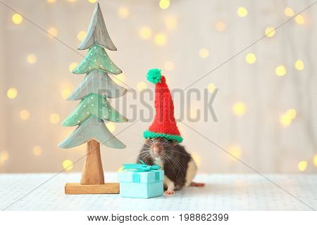 Cute rat in hat near decorative Christmas tree and small gift on table against defocused lights