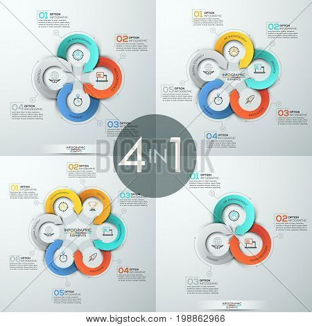 Collection of four infographic design templates. Circular diagrams with 3, 4, 5, 6 round elements, arrows twisted around them, pictograms and numbered text boxes. Vector illustration for presentation.