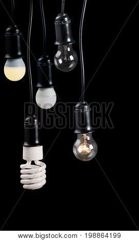 set of electric lamps in receptacle isolated on black background