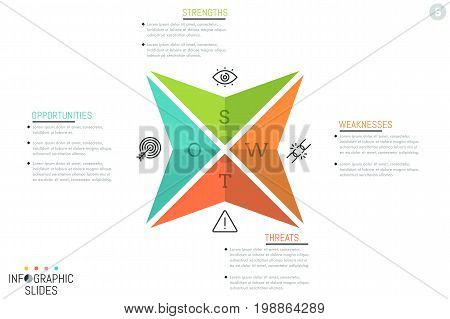 Creative infographic design layout, 4 triangular arrows with letters, icons and text boxes. SWOT analysis visualization, company's strengths, weaknesses, threats, opportunities. Vector illustration.