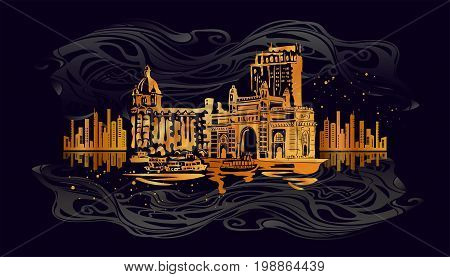 Mumbai, India Gate and the Taj Mahal Hotel Mumbai, the view from the Arabian Sea. Vector golden and silver illustration on a black background.