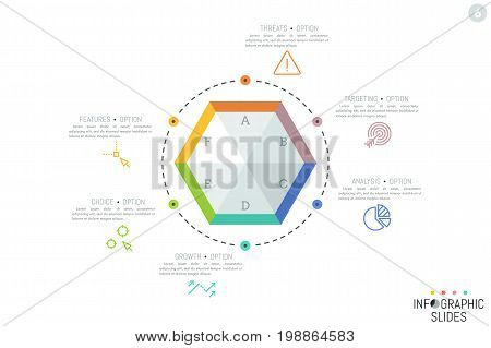 Simple infographic design template. Hexagonal element divided into 6 lettered sectors surrounded by icons and text boxes. Business process cycle concept. Vector illustration for presentation.