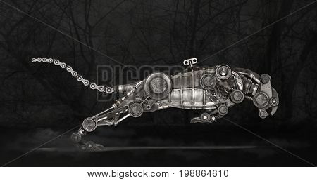 Steampunk style panther. Mechanical animal photo compilation