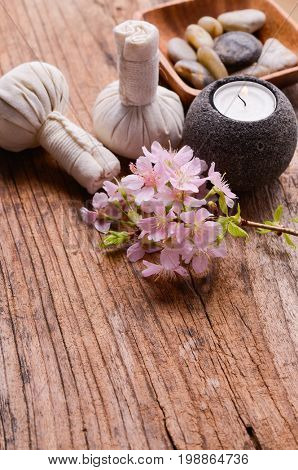 Spa setting on old wooden