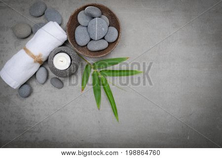 spa theme objects on grey background