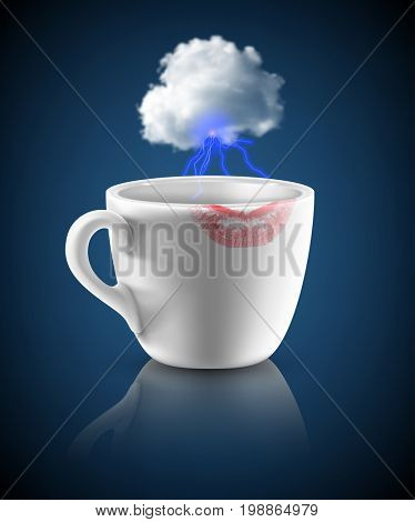 white cup with red lipstick print and small cloud with lightings on dark blue background. 3d illustration