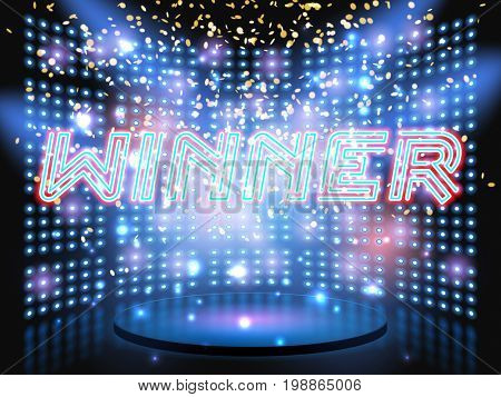 Winner neon lettering live stage on background with lightbulb glowing wall.