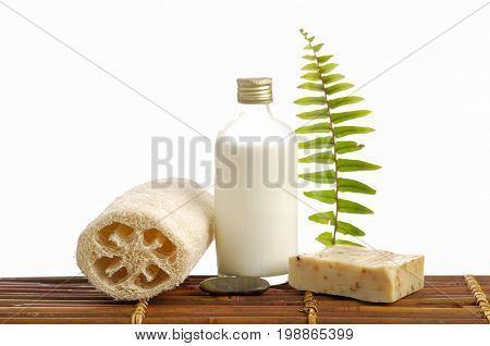 Set of soap with green fern and massage oil, ball on mat
