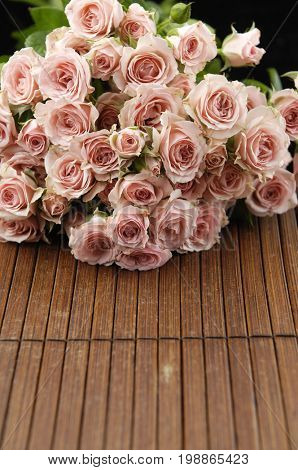 bouquet, rose on mat background