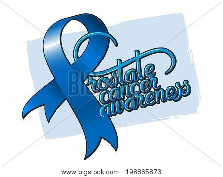 Tape preventing the male prostate disease and cancer awareness symbol blue ribbon with lettering