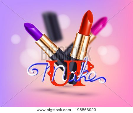 Makeup red lipstick advertising template mockup with lettering and sparkling background.  3d illustration