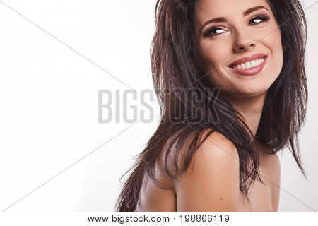 Beautiful brunette woman and classic make-up. Beauty face.