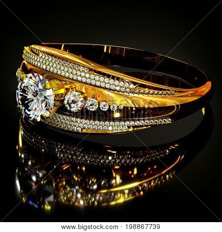 Gold ring with diamond gem jewelry. Luxury jewellery bijouterie with crystal gemstone for people in love . Frontal view and reflection on black background. 3D rendering
