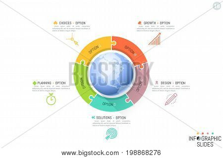 Five connected jigsaw puzzle pieces and planet in center. Features of multinational company, global business problems concept. Infographic design template. Vector illustration for report, website.