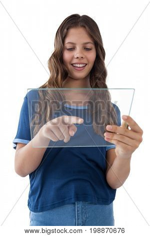 Girl using a glass digital tablet against white background
