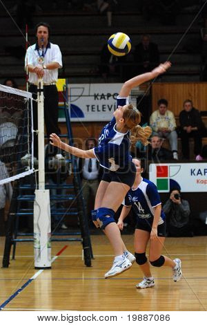 KAPOSVAR, HUNGARY - FEBRUARY 11: Timea Meszaros strikes the ball at the Hungarian Extra League woman volleyball game Kaposvar vs Tatabanya, February 11, 2007 in Kaposvar, Hungary