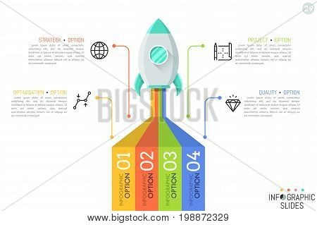 Creative infographic design template. Spaceship taking off on mission, 4 elements connected with icons and text boxes. Four features of startup launch concept. Vector illustration for presentation.