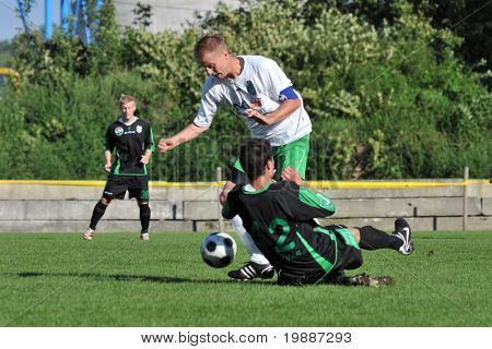 KAPOSVAR, HUNGARY - SEPTEMBER 5: Gergely Balogh (42) in action at a Hungarian National Championship III. soccer game Kaposvar II. vs. Nagyatad September 5, 2010 in Kaposvar, Hungary.