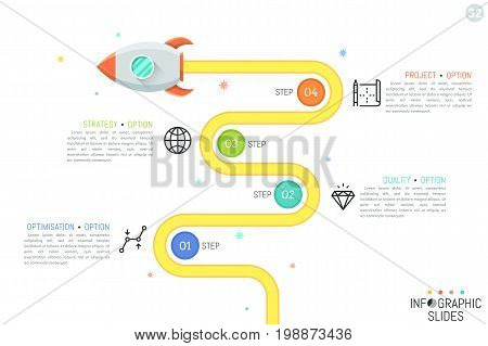 Modern infographic design template with flying rocket, 4 numbered circular elements, linear pictograms and text boxes. Four steps of optimization process. Vector illustration for banner, website.