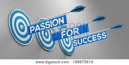 Passion for success text on three arrows on targets on wall (3D Rendering)