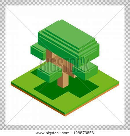 Isometric tree icon for forest, park, city. Landscape constructor for game, map, prints, ets. Isolated on white background.
