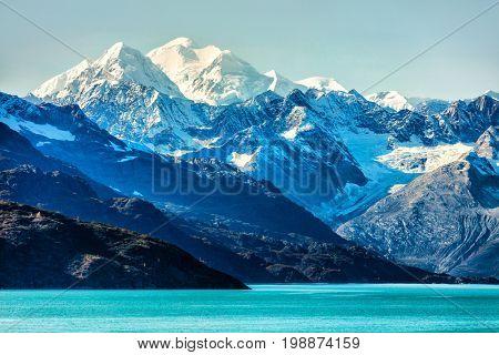 Alaska Mountains landscape in Glacier Bay Alaska, United States, USA. Vacation cruise travel destination.