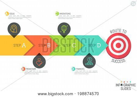 Minimalistic infographic design layout. Horizontal arrow consisted of 4 lettered elements and pointing at target. Targeting, goal achievement strategy concept. Vector illustration for presentation.