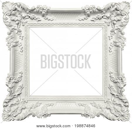 Vintage plaster frame isolated on white background -Clipping Path