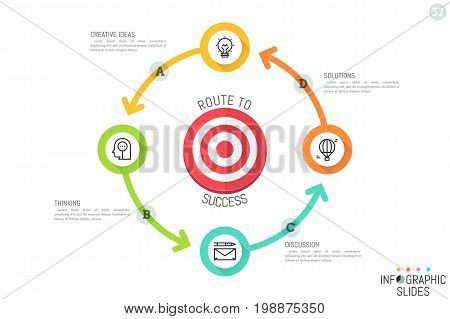 Infographic design layout. Circular diagram with four round colorful elements connected by arrows, thin line icons and text boxes. Production cycle concept. Vector illustration for report, banner.