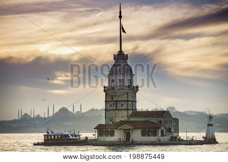 Maiden's Tower before sunset in Istanbul Turkey