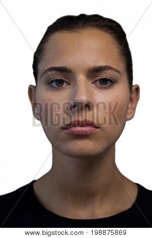 Close up portrait of confident young businesswoman against white background