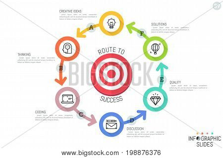 Infographic design template. Round diagram with six bright circular elements connected by arrows and placed around target. Goal setting, aim achievement concept. Vector illustration for website.