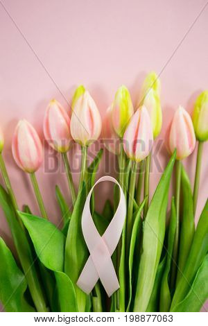 Overhead view of Breast Cancer Awareness ribbon on tulip flowers against blue background