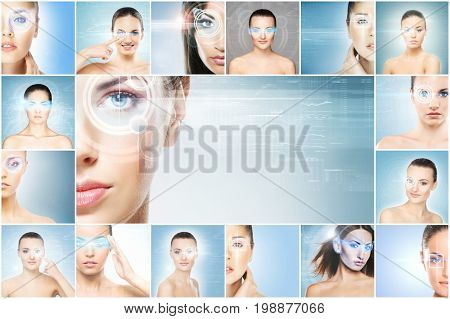 Women with a digital laser hologram on eyes collage. Ophthalmology, eye surgery and identity scanning technology concept collection.