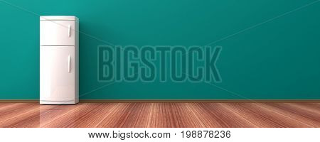 White refrigerator on a wooden floor. 3d illustration