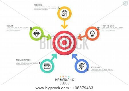 Creative infographic design template. Flower petal diagram with 5 round elements and arrows pointing at shooting target in center. Five ways to achieve great results concept. Vector illustration.