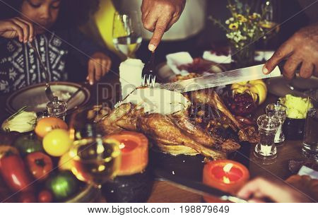 Cutting Turkey Thanksgiving Celebration Concept