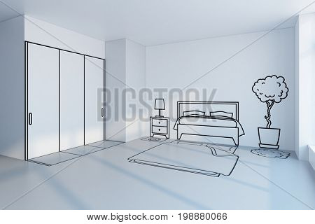 bedroom planning design, 3d rendering