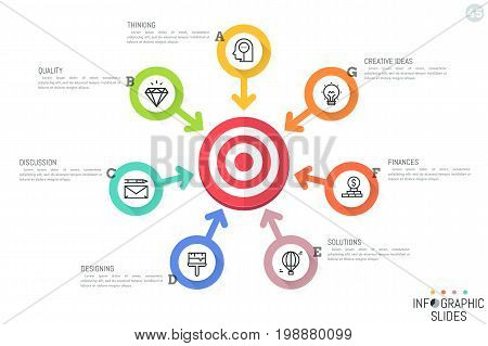 Infographic design template. Circular chart with 7 round lettered elements, pictograms, text boxes and arrows pointing at target. Seven features of successful company concept. Vector illustration.