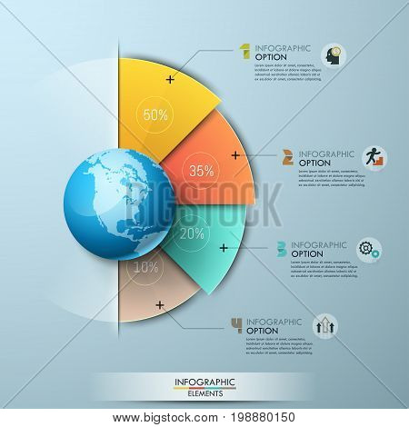 Infographic design template. Four sectoral elements with percentage indication placed around globe and connected with text boxes. Global data and international statistics concept. Vector illustration.