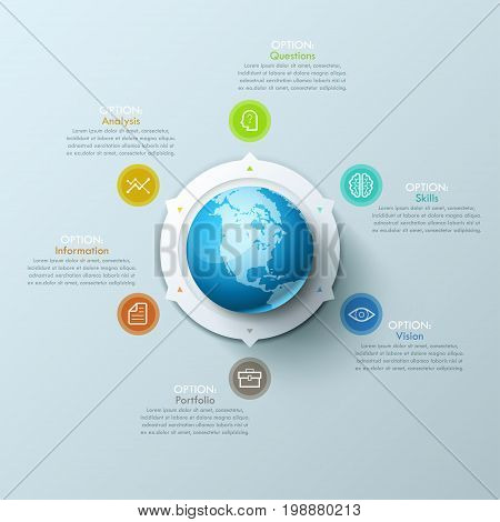 Modern Infographic design layout with planet Earth in center and arrows pointing at pictograms and text boxes. World poverty and inequality problems concept. Vector illustration for report, brochure.