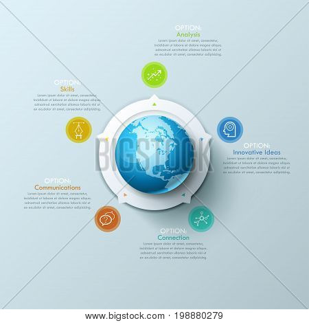 Creative Infographic design layout with globe in center, 5 arrows pointing at circular elements and text boxes. Five features of international relations concept. Vector illustration for presentation.