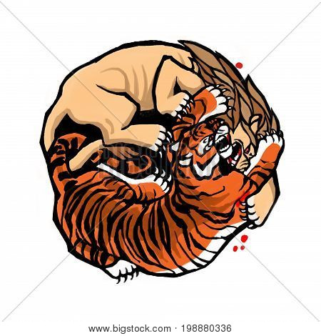 Emblem of the struggle of predators. Fighting the tiger and the lion.